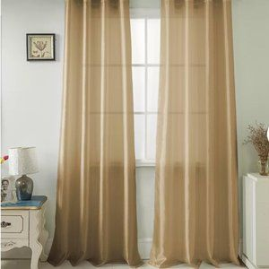 Solid Sheer Gold Rod Pocket Curtain Set of 2 48x96